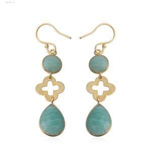 Russian Amazonite Goldtone Drop Earrings